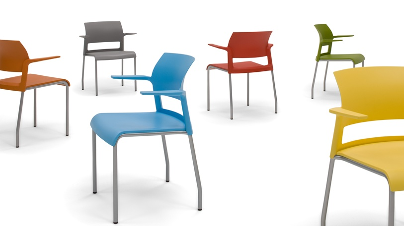 Non-upholstered Move chair available in 12 color options