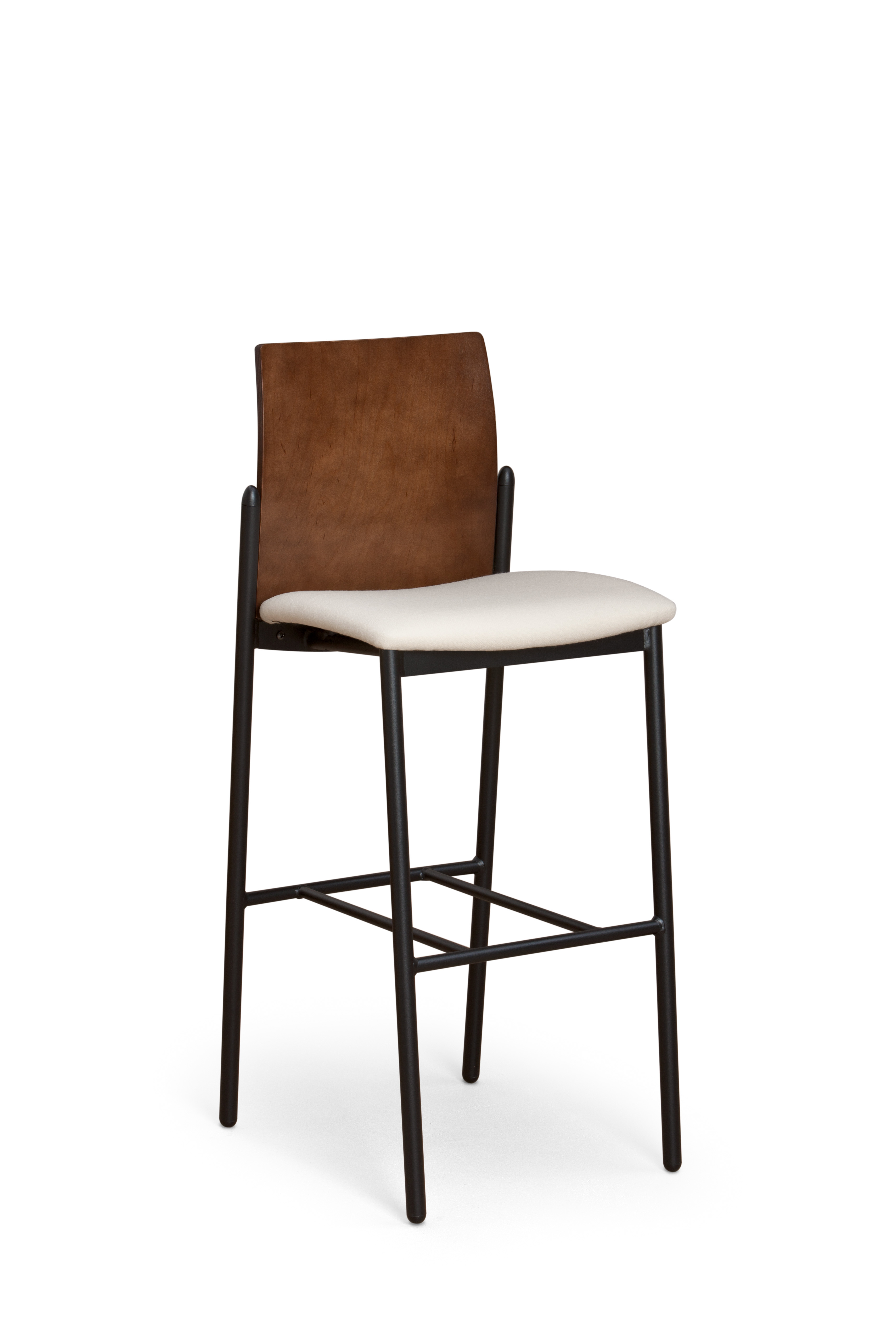 Deck stool with upholstered seat and wood back