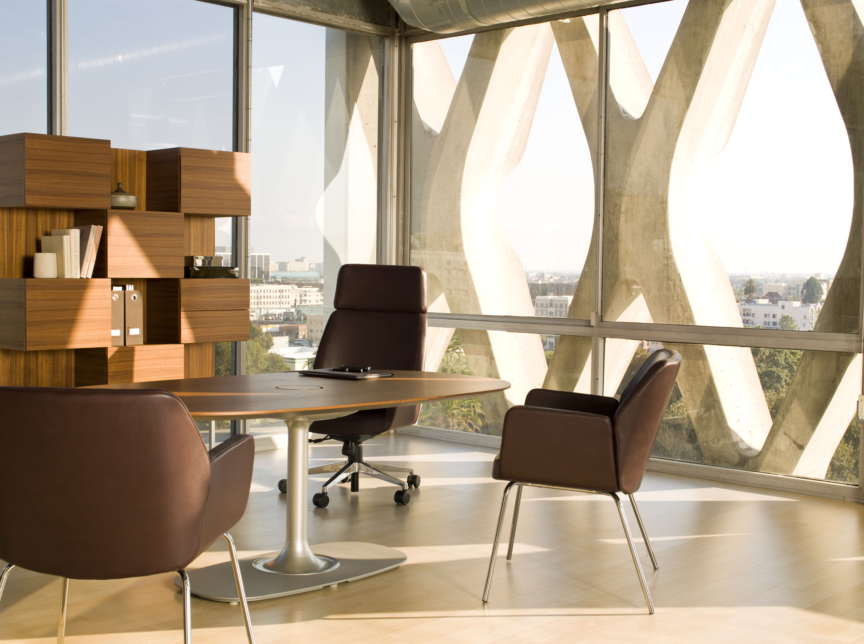 Denizen Desking with Bindu Side Chairs and Denizen Table