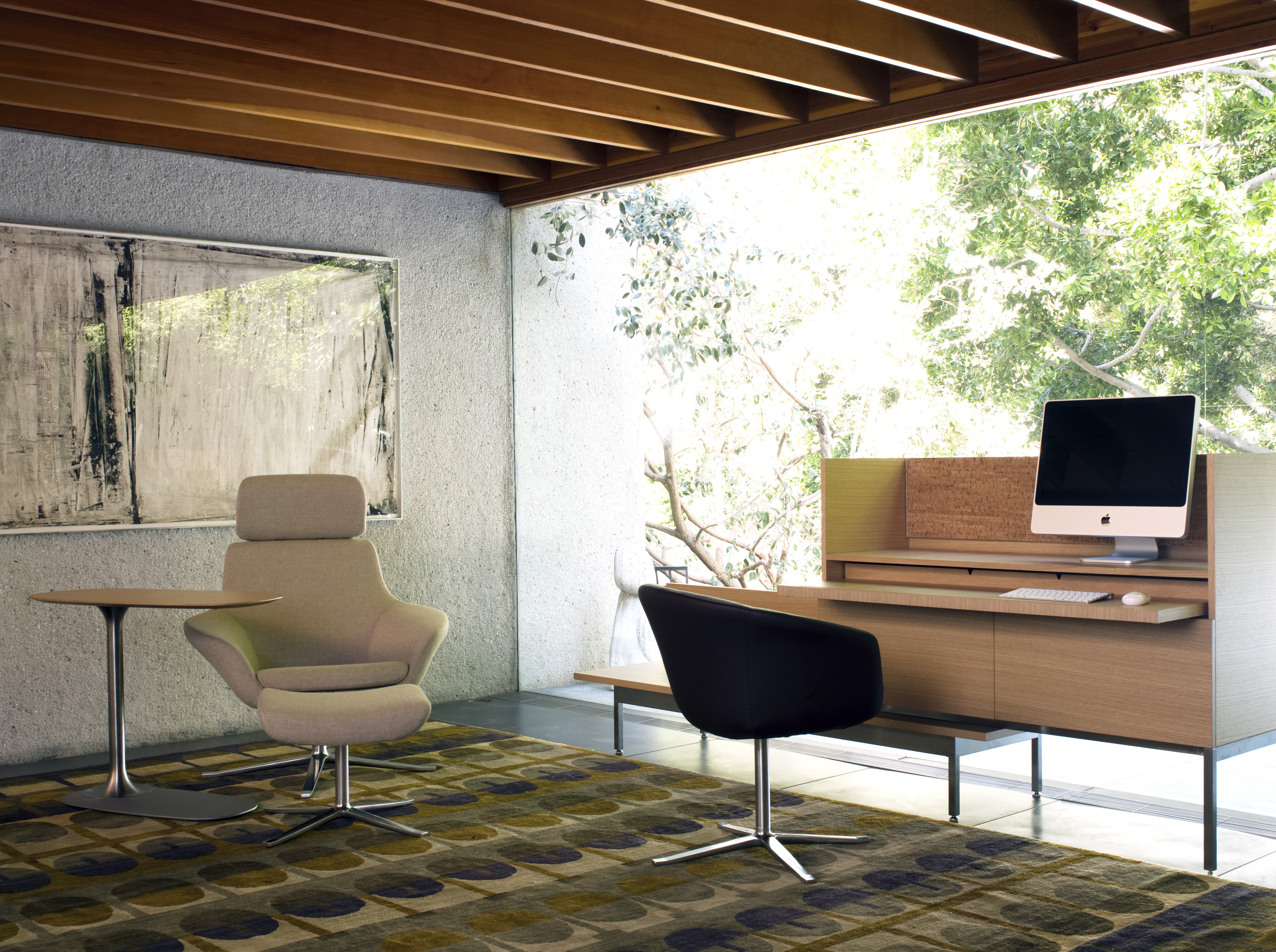 Bob Lounge Chair with Bob Chair and Denizen Personal Table and Desking