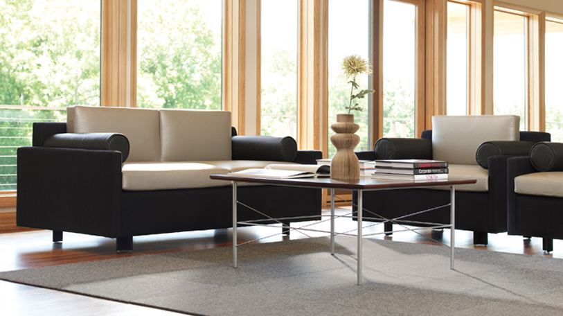 Eveneau lounge seating by Coalese shown with Calm tables.