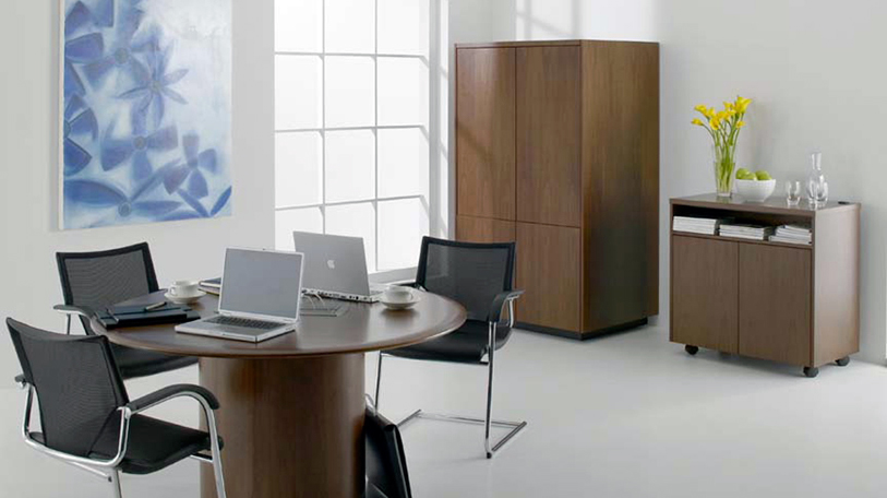 The Exponents portfolio consists of Credenzas, an AV cabinet, lecture, mobile cart and presentation
