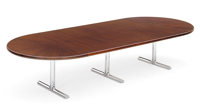 The Ginko Biloba table with chrome; available in various shapes, sizes and finishes.