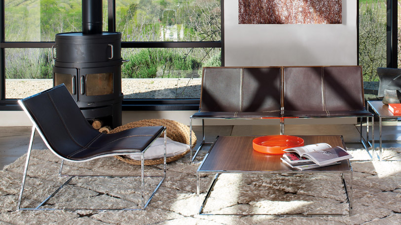 The Holy Day collection consists of contemporary chairs, sofas and tables for a dramatic lounge sett