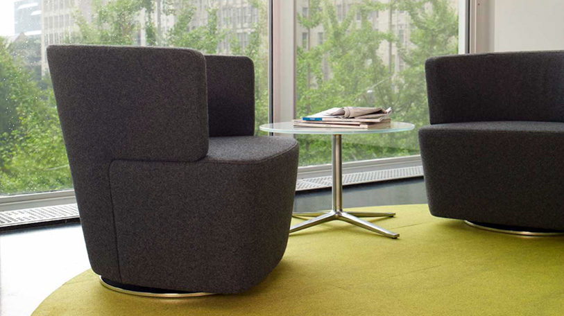 Joel lounge chair by Coalesse; shown with Bob table.