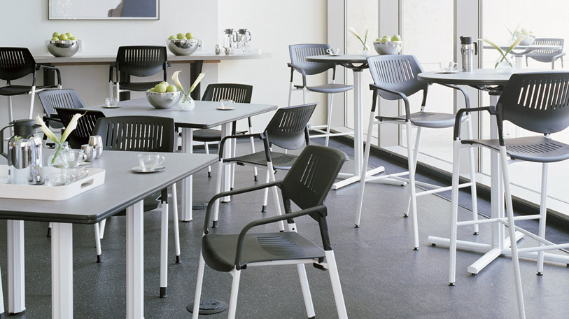 The Kart seating collection includes options for every need.  Shown: the Kart four leg stool.