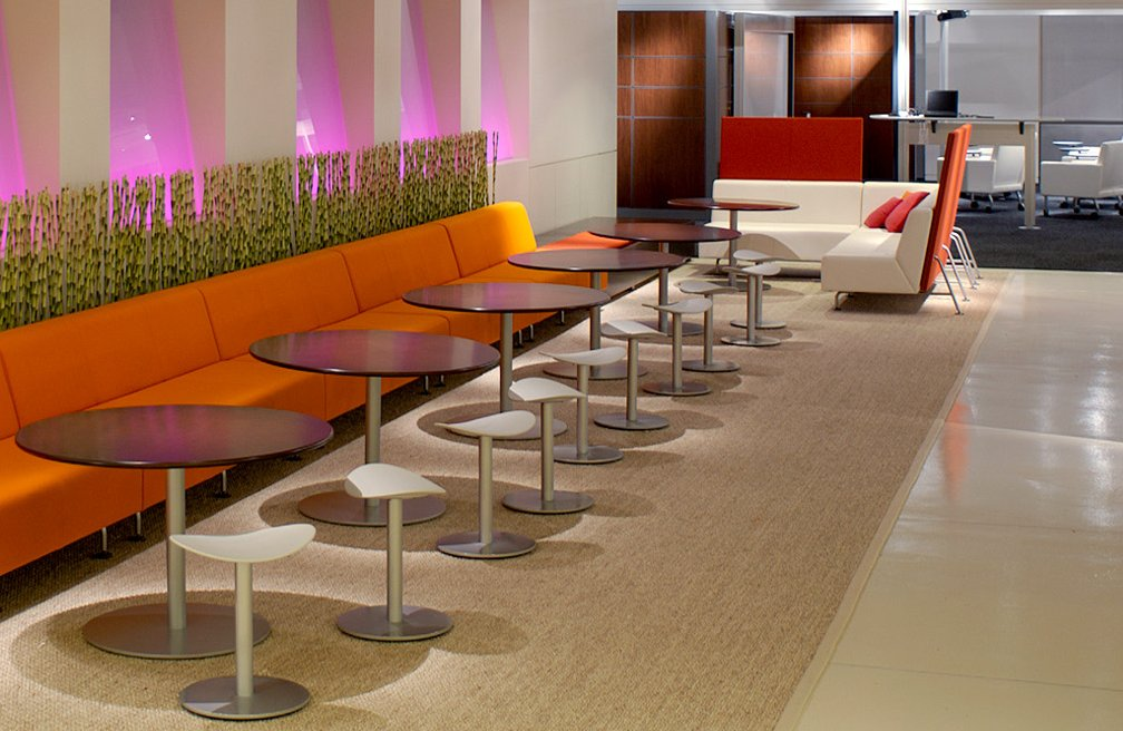 Bix Lounge Chairs with Enea Tables and Enea Cafe Stools