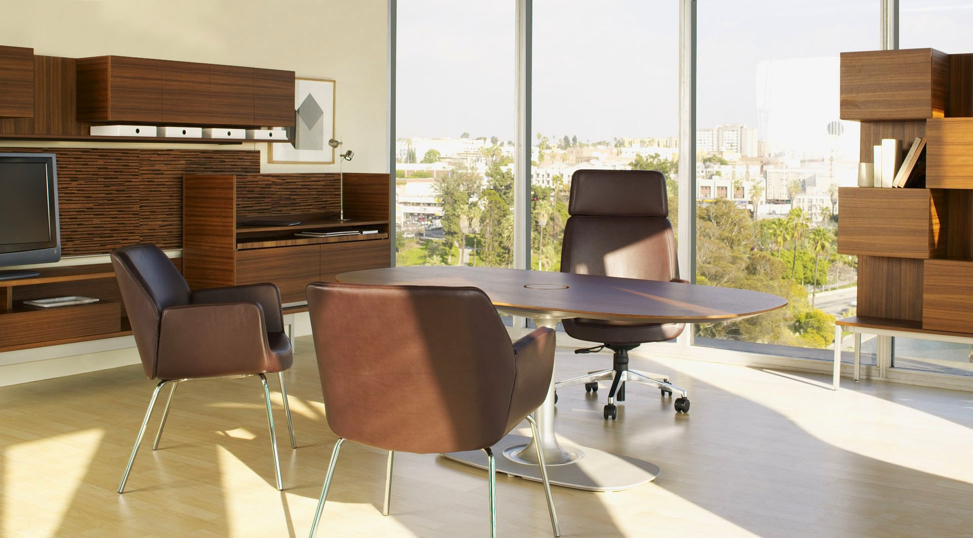 Bindu Executive Chair with Bindu Side Chairs and with Denizen Table, Desking and Storage