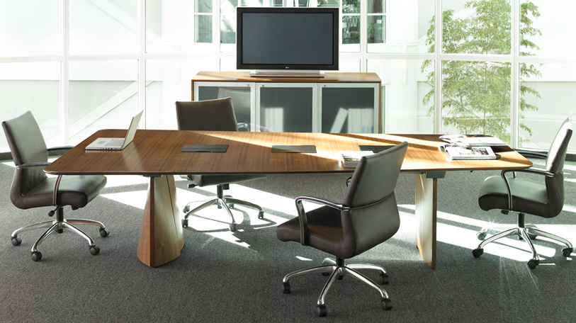 Host table by Coalesse shown with Host storage cabinet and Chord seating.
