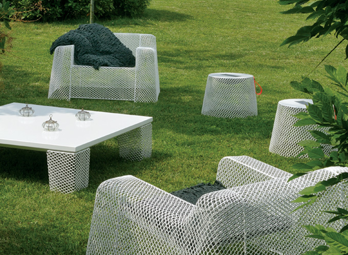 Emu Ivy Lounge Chairs with Emu Ivy Table and Emu Ivy Poufs