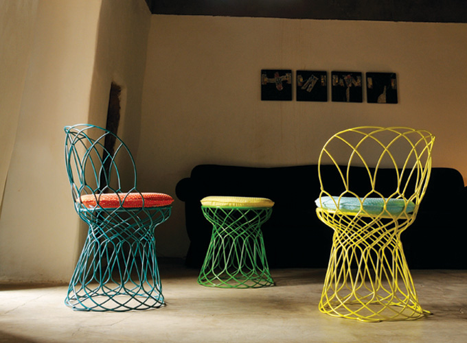 Emu Re-Trouve Chairs with Re-Trouve Pouf