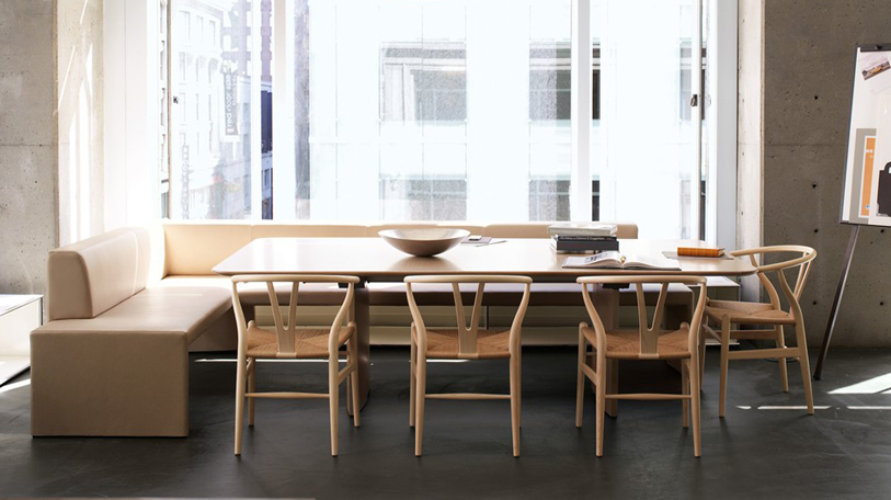 The Together Bench by Coalesse, shown with the timeless Wishbone chairs and the Host table. A great