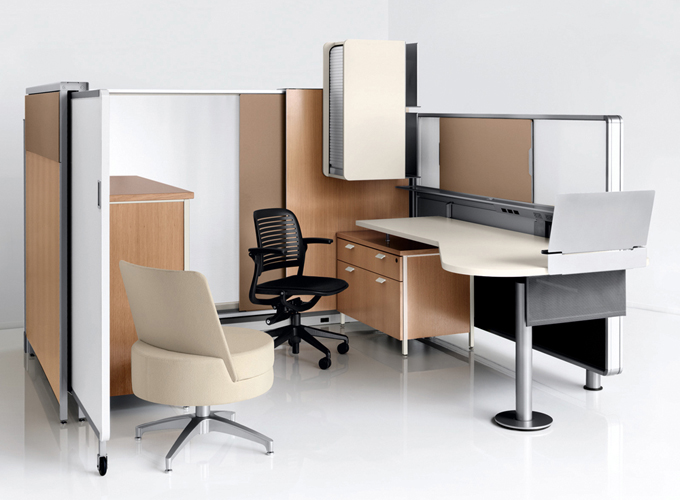 Topo Desking with Kart Nesting Chair and Topo Lounge Chair